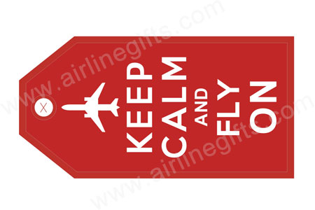KEEP CALM FLY ON (Red) Bag Tag TAG426